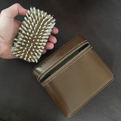 Vintage Genuine Leather Suede Travel Valet Brush w Zip Compartment West Germany