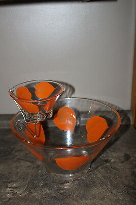Retro Mid-Century Modern Two Tier Chip and Dip Bowls Smaller Top Bowl