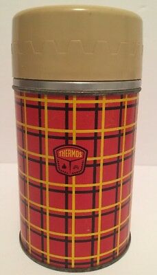 Vintage 1960's Plaid THERMOS Brand Products Red Black Yellow USA