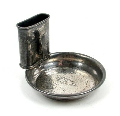 Antique Webster Sterling Silver Personal Dinner Ashtray & Match Holder Vintage