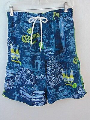 1012fda38a Corona Mens Swim Trunks Extra Blue Yellow Beer Bottle Graphic Board Shorts  Sz 34