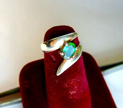 Vintage 925 St. Silver Ring With Cut Emerald
