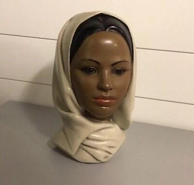 Vintage Marwal Chalkware Exotic Woman In Scarf Head Bust Statue Art Deco