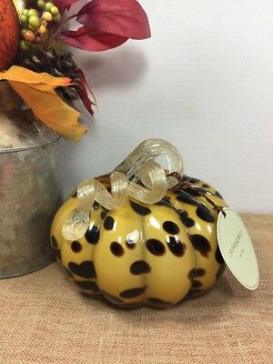 NEW! Cynthia Rowley Hand Blown Art Glass Pumpkin Gourd Black Leopard Spot Gold 1