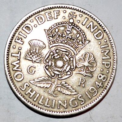 1948 GREAT BRITAIN large TWO SHILLINGS florin coin FINE COLLECTIBLE