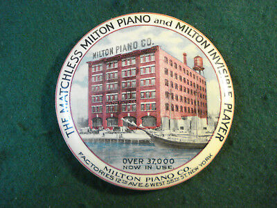 Antique Advertising Celluloid Pocket Mirror Paperweight Milton Piano Co New York