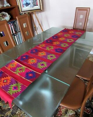 """Mexican Hand Loomed 100% Cotton Fringed Table Runner Folk Decor 62"""" X 15.5""""   #2"""
