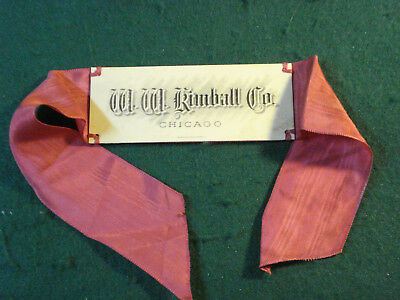 Antique Advertising Celluloid Name Plate With Ribbon W.w. Kimball Co. Pianos Chi