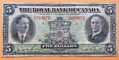 =>> Canada ~~ $5 Dollars ~~ S1383    Royal Bank Of Canada    Very Fine  <<=