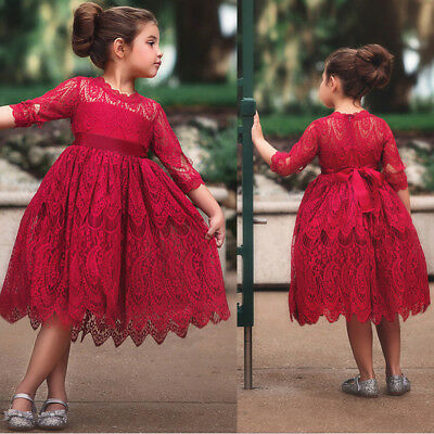 Girls Lace Embroidery Dress Kids Dresses For Girl Princess Autumn Winter Party