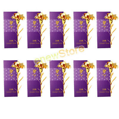 10X24K Gold Rose Dipped Foil Plated Thanksgiving Valentine's Day Mother Day Gift