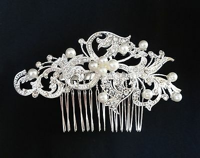 Wedding Bridal Hair Comb Headpiece Swarovski Crystal Silver White Pearl Vintage