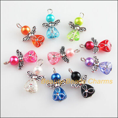 10Pcs Mixed Glass Acrylic Dancing Angel Wings Flowers Charms Pendants 14x22mm