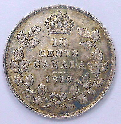 1919 Ten Cents EF * Nicely Toned HIGH Grade King George V Old Silver Canada Dime