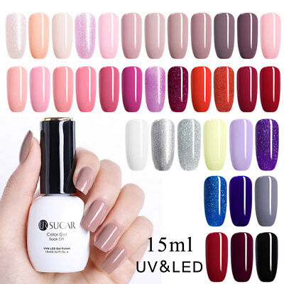 UR SUGAR 15ml Soak Off Nail Gel Polish Solid Color Glitter UV LED Gel Varnish