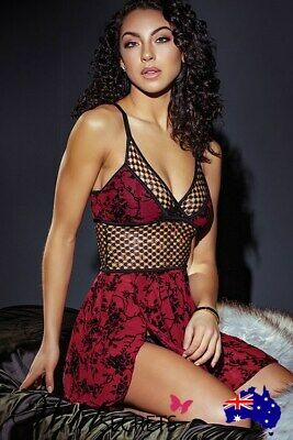 NEW Coquette Burgundy Bouquet Mesh Babydoll with G-String, Babydoll/Chemise