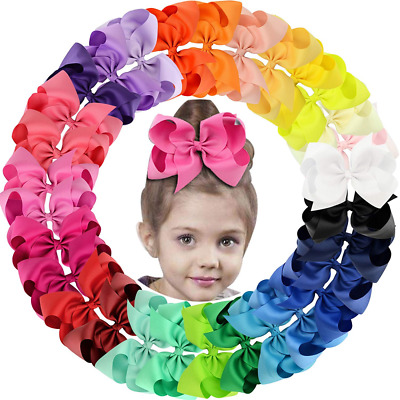 30Pack 6in Grosgrain Ribbon Hair Bows Baby Girl's Clips Large Big For