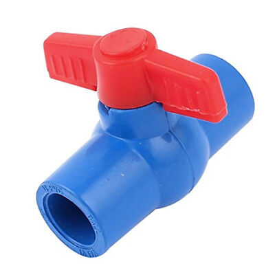 Plumbing 25mm x 25mm Slip Ends Full Port PVC Ball Valve Black Red P9E6