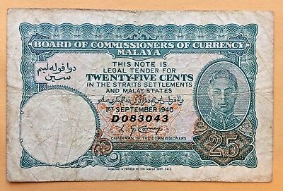 => Malaya  ~~  P3  ~~ 25 Cents ~~ 1940 |  King George Vi  | Vf <=