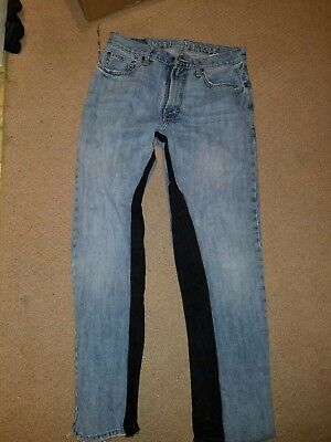 Custom Cut And Sewn Vintage Jeans Two Tone Wide Fit 29 × 32 Off White Inspired