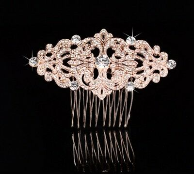 Wedding Bridal Vintage Diamante Hair Comb Classic Rhinestone Headpiece-Rose Gold