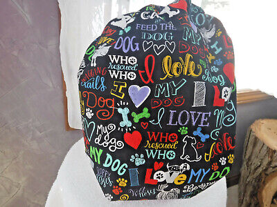 Bouffant surgical scrub hat cap black love dogs
