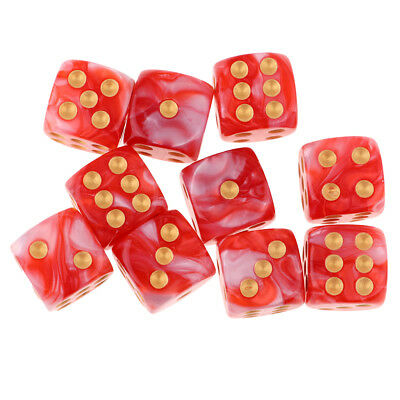 10pcs 16mm Opaque Six Sided Spot Dice Games D6 D&D RPG Red+White
