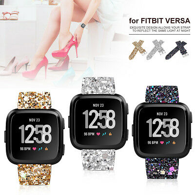 Glitter Leather Watch Band Wrist Strap Bracelet For Fitbit Versa Fitness Tracker