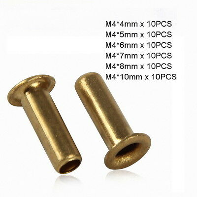 60pc M4 x (4mm-10mm) Copper Brass Eyelet Hollow Tubular Rivets Through Nuts Kit