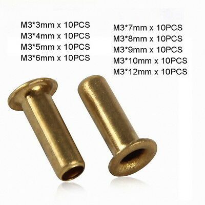 90pc M3 x (3mm-12mm) Copper Brass Eyelet Hollow Tubular Rivets Through Nuts Kit