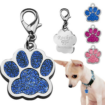 Paw Pet ID Tag Dog Puppy Cat Kitten Name Tags Personalised Engraved Free Ring