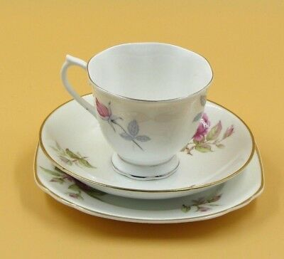 Aynsley Bone China Cup, Saucer and Side Plate. Gold Rims & Scalloped Edges