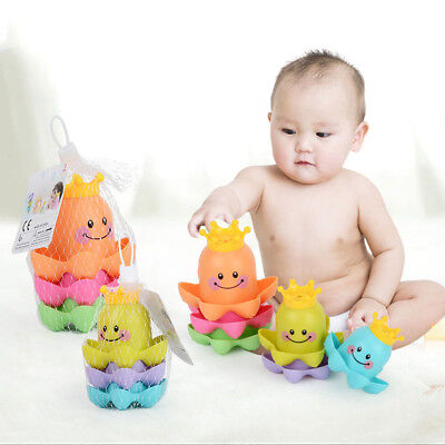 3Pcs Sound Rubber Float Octopus Bathing Toys Baby Kids Tub Shower Cup Animals
