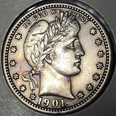 1901 25C Barber Quarter Extra Fine to About Uncirculated Details Liberty Head