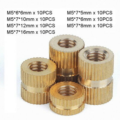 70pc M5 x (5-16mm) Solid Brass Injection Molding Knurled Thread Inserts Nuts Kit
