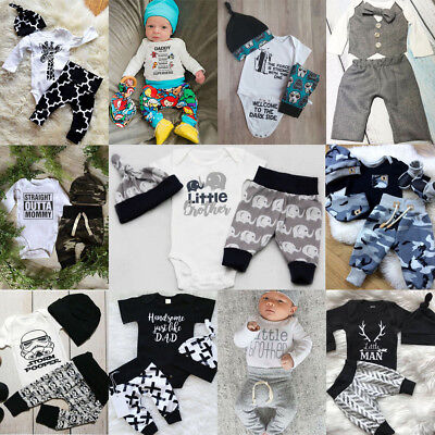 Infant Newborn Baby Boys Girl Cartoon Clothes Tops Romper Pants Hat Outfits Set