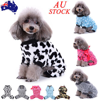 AU Dogs Sleepwear Clothes Dog Camo Dot Romper Outfits Sweater Jumper Chihuahua