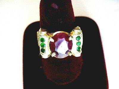 Vintage 925 St. Silver Ring With Ruby & Emeralds