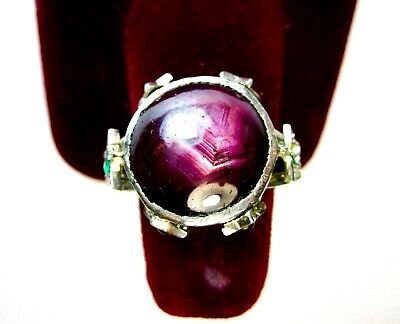 VINTAGE 925 ST. SILVER RING WITH 12 Ct. RUBY, EMERALDS & SAPPHIRES