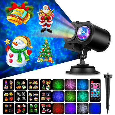 Ocean Wave Christmas Projector Lights LED 2-in-1 Moving Patterns Waterproof Lamp