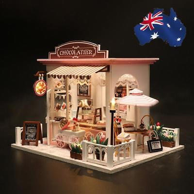 DIY Dollhouse Wooden Miniature Kit Blue Doll House Cottage LED lights Kid's Gift