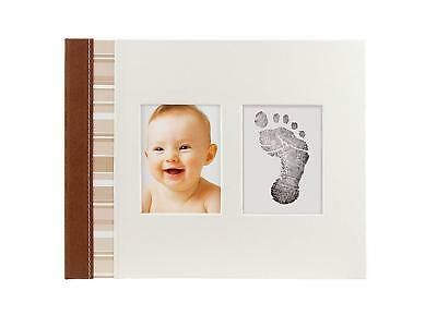 Pearhead Ivory Suede Binding Classic Baby Book with Clean-Touch Ink Pad Included