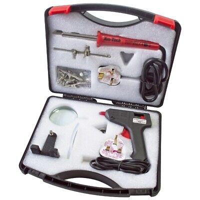 Electric Soldering Tool Kit 30W Iron 10W Glue Gun With Magnifier By Am-Tech