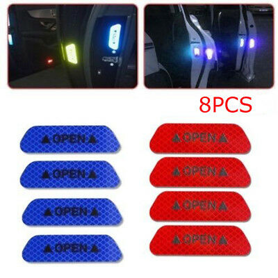 8Pcs Super Blue&Red Car Door Open Sticker Reflective Tape Safety Warning Decal