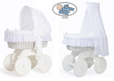 SOPHIE- LUXURY WHITE BABY WICKER CRIB MOSES BASKET WITH CANOPY or HOOD & BEDDING