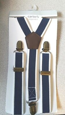 Baby Boys Carter's Blue & White Suspenders Set Nwt! Retail $14.00