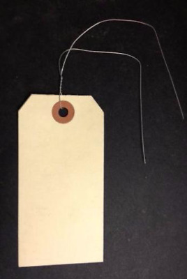 """100 Pack of 4 1/4"""" x 2 1/8"""" Size 4 Manila Inventory Shipping Hang Tags with Wire"""