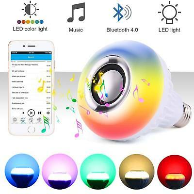 E27 Bulb Speaker Bluetooth LED Light Music RGB Color Wireless Remote 12W Lamp CP