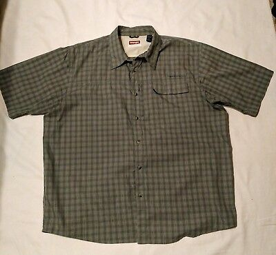 7bcd2c2f Wrangler Mens Outdoor Fishing Green Plad S/S Button Down Shirt XL Pockets
