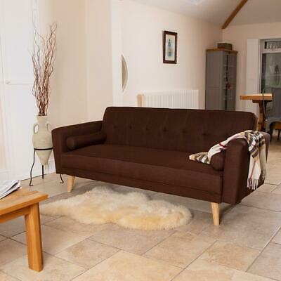 Wido BROWN LUXURY STYLISH LINEN FABRIC UPHOLSTERED SOFA BED 3 SEATER COUCH RETRO